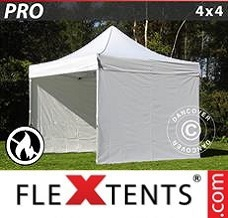 Canopy 4x4 m White, Flame retardant, incl. 4 sidewalls