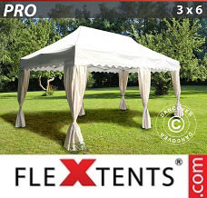 Canopy 3x6 m White, incl. 6 decorative curtains
