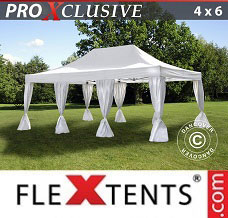 Canopy 4x6 m White, incl. 8 decorative curtains