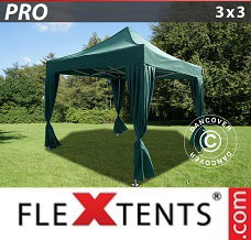 Canopy 3x3 m Green, incl. 4 decorative curtains