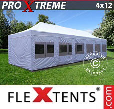 Canopy 4x12 m White, incl. sidewalls