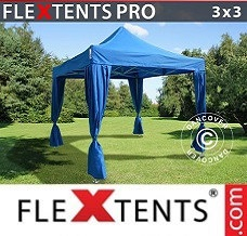 Canopy  3x3 m Blue, incl. 4 decorative curtains