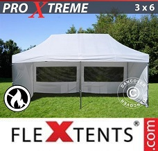 Canopy  3x6 m White, Flame retardant, incl. 6 sidewalls