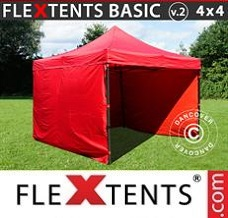 Canopy 4x4m Red, incl. 4 sidewalls