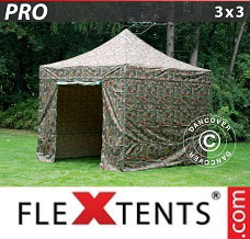 Canopy 3x3 m Camouflage/Military, incl. 4