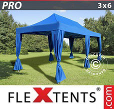Canopy 3x6 m Blue, incl. 6 decorative curtains