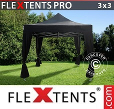 Canopy  3x3 m Black, incl. 4 decorative curtains