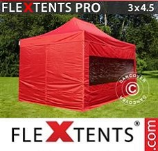 Canopy 3x4.5 m Red, incl. 4 sidewalls