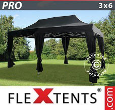 Canopy  3x6 m Black, incl. 6 decorative curtains
