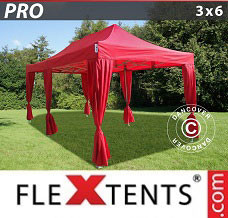 Canopy 3x6 m Red, incl. 6 decorative curtains