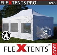 Canopy 4x6 m White, Flame retardant, incl. 4 sidewalls