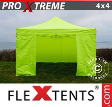 Canopy 4x4 m Neon yellow/green, incl. 4 sidewalls