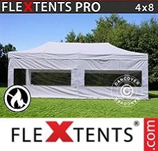 Canopy 4x8 m White, Flame retardant, incl. 4 sidewalls