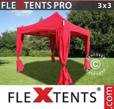 Canopy 3x3 m Red, incl. 4 decorative curtains