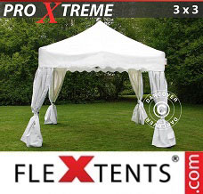 Canopy 3x3m White, incl. 4 decorative curtains