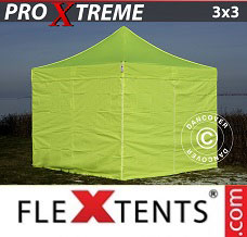 Canopy 3x3 m Neon yellow/green, incl. 4 sidewalls
