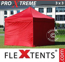 Canopy 3x3 m Red, incl. 4 sidewalls