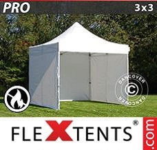 Canopy 3x3 m White, Flame retardant, incl. 4 sidewalls