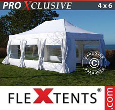 Canopy 4x6 m White, incl. 8 sidewalls & decorative...